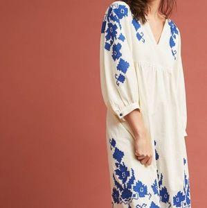 Anthropologie Jora Embroidered Peasant Dress